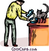 man pouring milk in a bowl for his pet cat Vector Clip Art picture