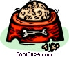 Vector Clip Art graphic  of a dog's food dish with a meal