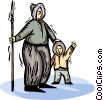 Vector Clipart image  of a Eskimo father with son and