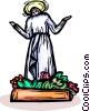 Vector Clip Art picture  of a Virgin Mary with flowers