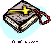 Holy Bible with Crucifix and beads, rosary Vector Clipart picture