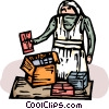 Vector Clipart graphic  of a working in soup kitchen