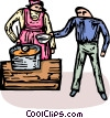 Vector Clip Art picture  of a working in soup kitchen