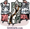 Bishop sitting in a chair with altar boys Vector Clip Art picture