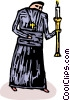 Vector Clip Art graphic  of a priest or deacon carrying a