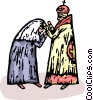 priest blessing a woman Vector Clipart image