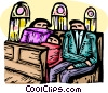 Parishioners sitting in a pew at a church Vector Clip Art picture
