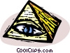 pyramid with eye symbol Vector Clipart illustration