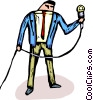 Vector Clipart graphic  of a man holding a microphone