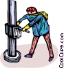 man working on an oilrig, oil drilling platform Vector Clip Art graphic
