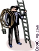 Vector Clip Art graphic  of a Electrician with a ladder