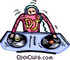 Vector Clipart image  of a DJ working with his music