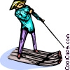 Asian man on a river raft with a pole Vector Clipart picture