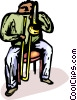Vector Clipart picture  of a man playing the trombone
