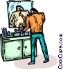 Vector Clipart illustration  of a man brushing his teeth