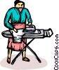 woman ironing Vector Clipart picture