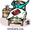 Vector Clip Art picture  of a man waking up in bed with an