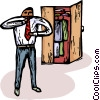 Vector Clipart illustration  of a man getting dressed for work