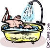 Vector Clipart image  of a man washing his back with a brush