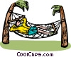 Vector Clip Art graphic  of a Man relaxing on a hammock