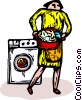 woman with load of laundry with washing machine Vector Clipart picture