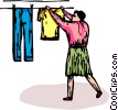 Vector Clipart graphic  of a woman hanging clothes on a