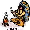 Indian chief smoking a pipe Vector Clip Art image
