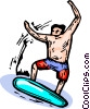 Vector Clipart graphic  of a young man surfing