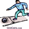 Vector Clip Art picture  of a Man bowling