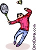 Man playing badminton Vector Clip Art graphic