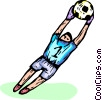 Soccer goalie catching a soccer ball Vector Clipart picture