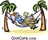 Man relaxing in a hammock reading a book Vector Clipart picture