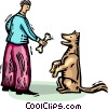 man offering his pet dog a bone Vector Clip Art picture