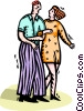 Vector Clip Art picture  of a man and women walking