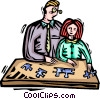 father and daughter building a puzzle Vector Clipart illustration