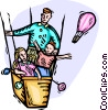 Vector Clipart picture  of a Family riding in hot air balloon