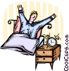 man waking up in the morning with alarm clock Vector Clipart illustration