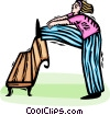 Vector Clip Art picture  of a Woman stretching after a