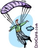 Vector Clip Art image  of a man floating to earth with a