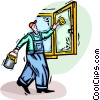 man painting a window frame Vector Clipart illustration