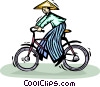 Vector Clip Art graphic  of a Oriental person riding a