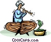 snake charmer with his flute and cobra snake Vector Clip Art image