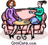 two women having a coffee with conversation Vector Clipart picture