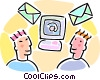 two men exchanging e-mail through the internet Vector Clipart picture