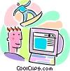surfing on-line with surfer and computer Vector Clipart illustration