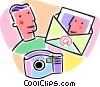 camera and photo being sent via e-mail Vector Clip Art image