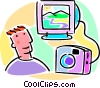 Vector Clip Art image  of a camera and photo being sent