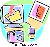 camera and photo being sent via e-mail Vector Clip Art picture