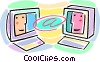internet e-mail concept with computers Vector Clipart picture