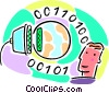 Vector Clipart illustration  of a computer cable connecting the
